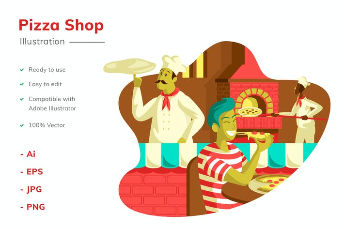 Pizza Shop Illustration