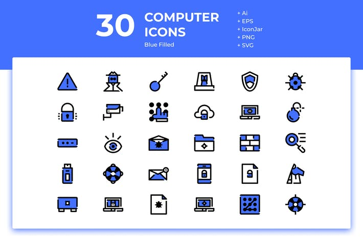 Thumbnail for 30 Computer Security Icons (Blue Filled)