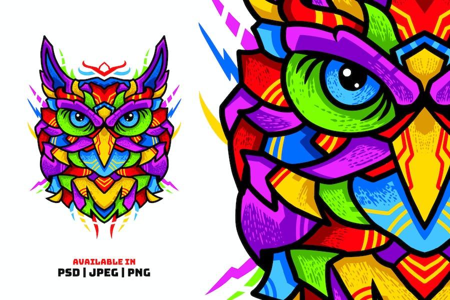 Шаблон красочной иллюстрации сова