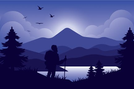 Pilgrim - Landschaft Illustration