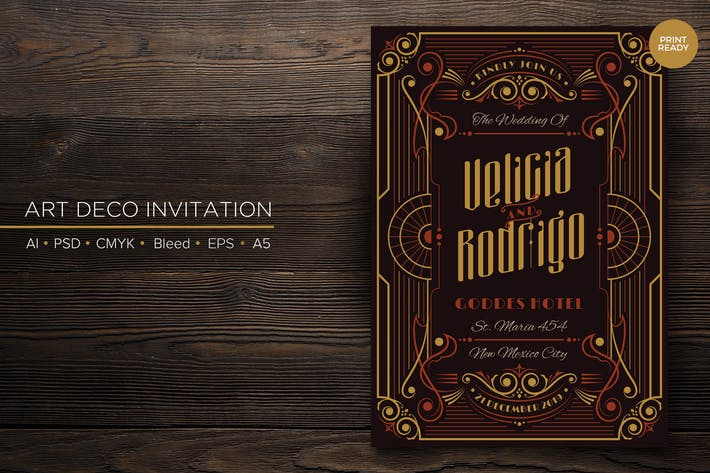 Thumbnail for Art Deco Wedding Invitation PSD And Vector Vol.1