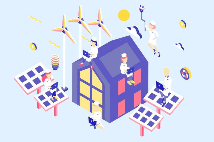 Thumbnail for Renewable Energy Isometric Illustration