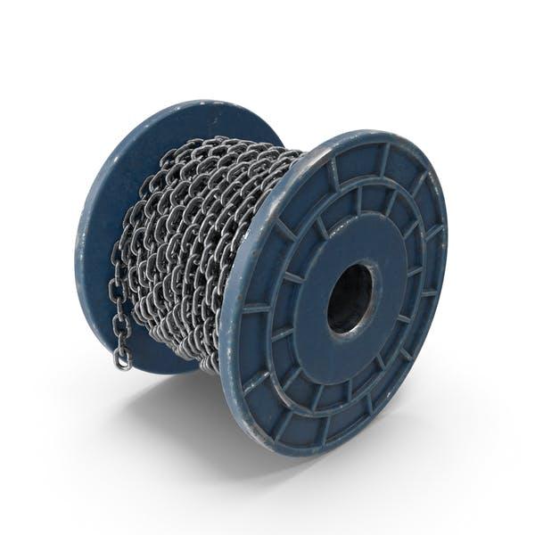 Cadena de acero con bobina de metal pintada en azul
