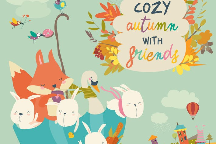 Cover Image For Happy animals sitting in umbrella in autumn park.