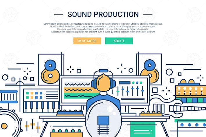 Thumbnail for Sound Production - website header banner template
