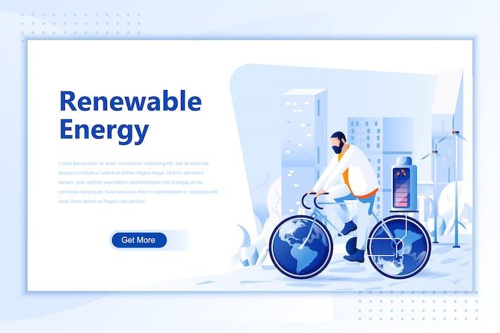 Erneuerbare Energien Flach Landing Page Header