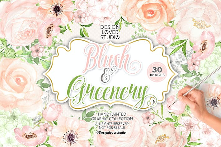 Thumbnail for Watercolor BLUSH and GREENERY design