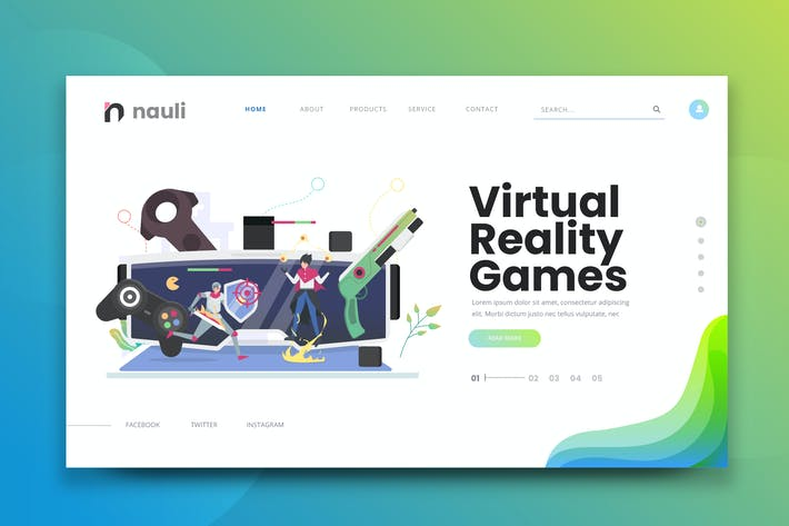 Thumbnail for Virtual Reality Games Web PSD and AI Vector