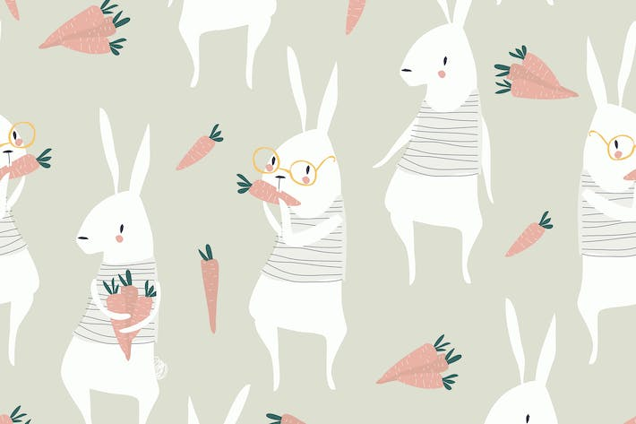 Thumbnail for Vector seamless pattern with cute rabbits and carr
