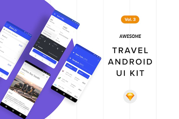 Thumbnail for Android UI Kit - Travel Vol. 3 (Sketch)