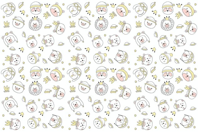cute animal head pattern