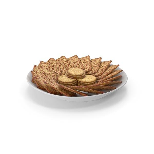Teller mit organisierten gewürzten quadratischen Crackern