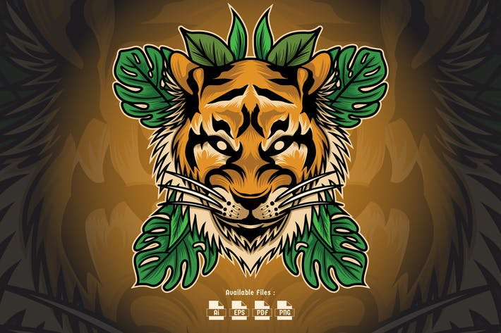 Thumbnail for Tropical Tiger Head Illustration