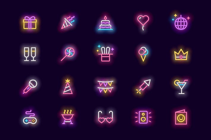 Thumbnail for Party - Neon Icons