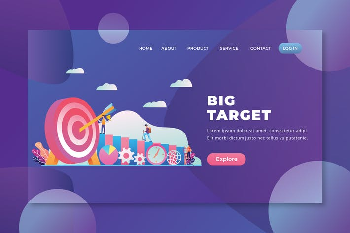 Thumbnail for Big Target - PSD and AI Vector Landing Page