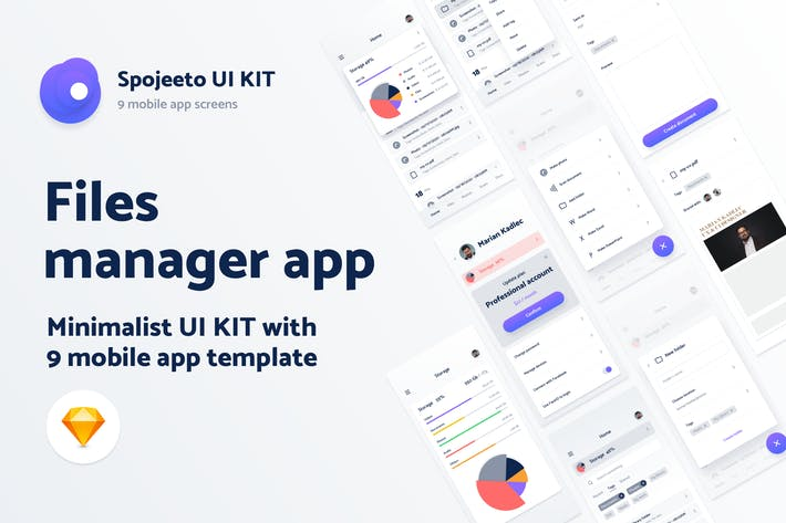 Thumbnail for File manager app UI KIT - 9 iPhone templates