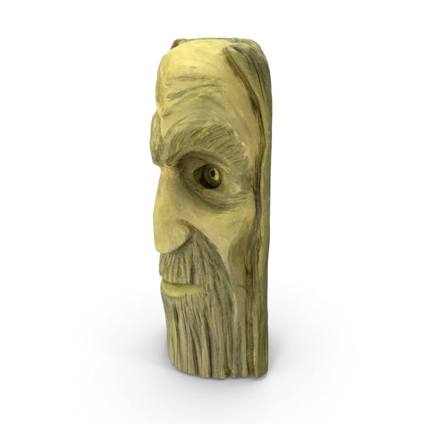 Thumbnail for Carved Wood Face Sculpture