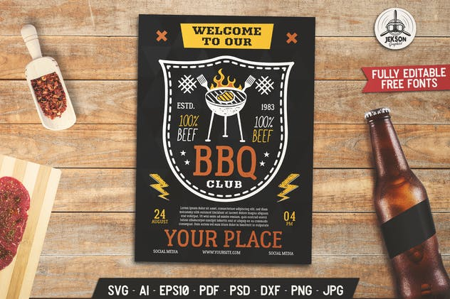 Barbecue Club Party Flyer. Summer BBQ Poster
