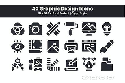 40 Grafik-Design-Icons Set - Glyphe