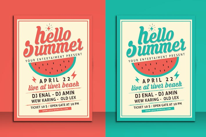 Thumbnail for Hello Summer Party Flyer Template