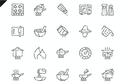 Simple Set Cooking Line Icons