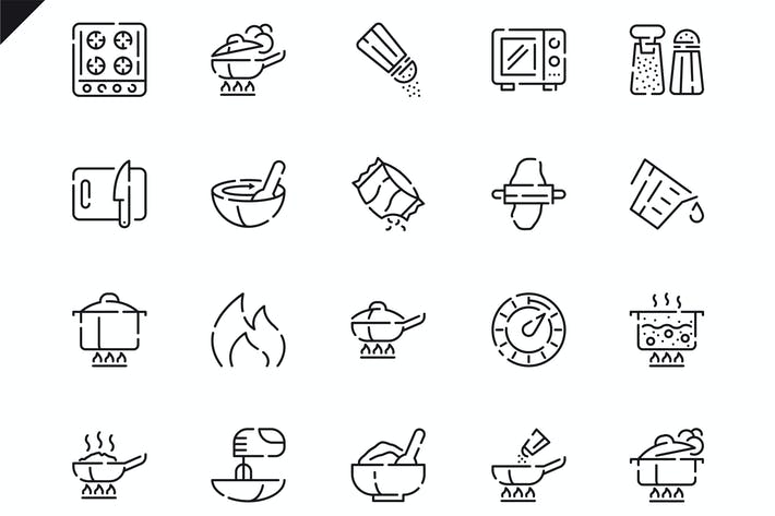 Thumbnail for Simple Set Cooking Line Icons