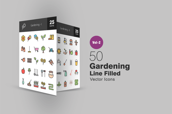 Thumbnail for 50 Gardening Line Filled Icons