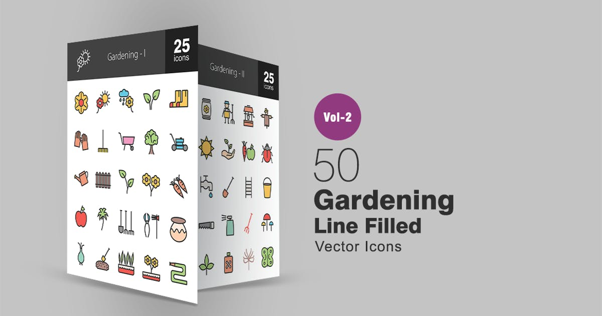 Download 50 Gardening Line Filled Icons by IconBunny