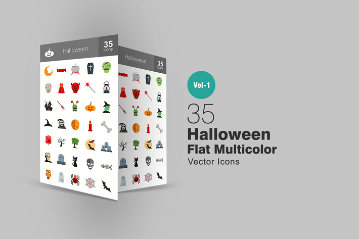 Thumbnail for 35 Halloween Flat Multicolor Icons