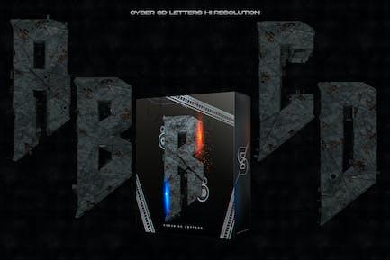 Cyber 3D Letters Hi Res - Rust & Metal
