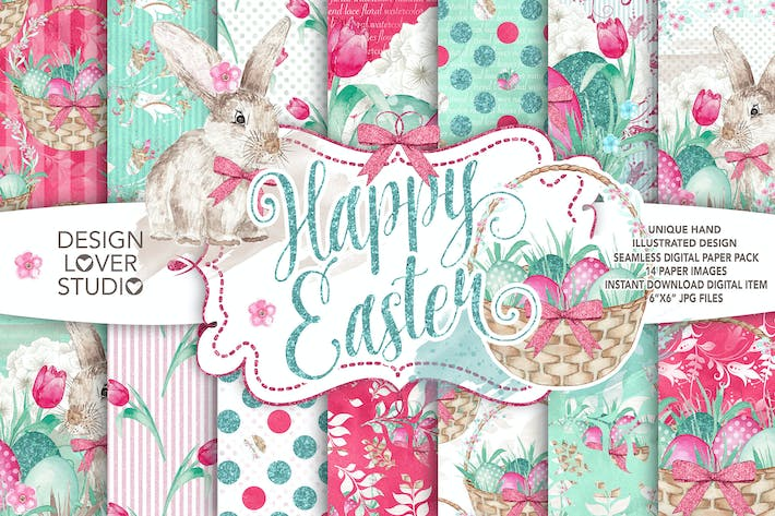 Cover Image For Watercolor Happy Easter digital paper pack