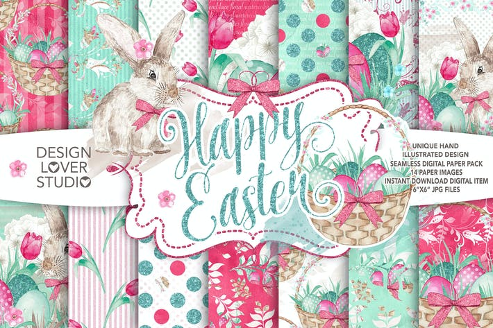 Thumbnail for Watercolor Happy Easter digital paper pack
