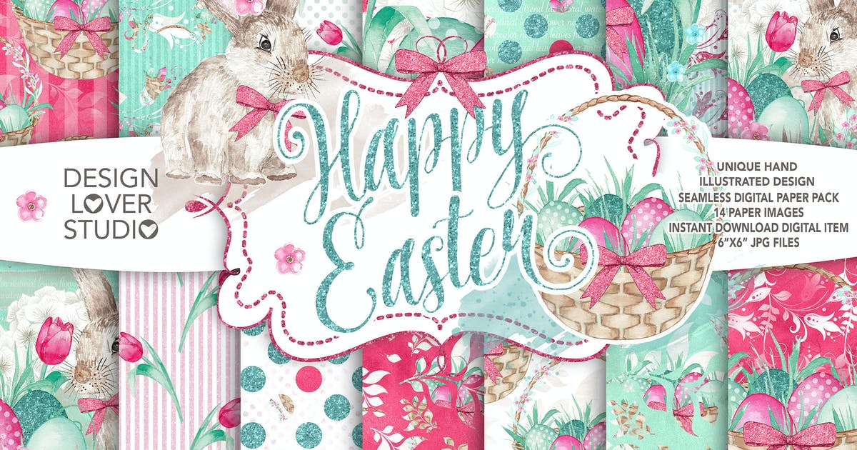 Download Watercolor Happy Easter digital paper pack by designloverstudio