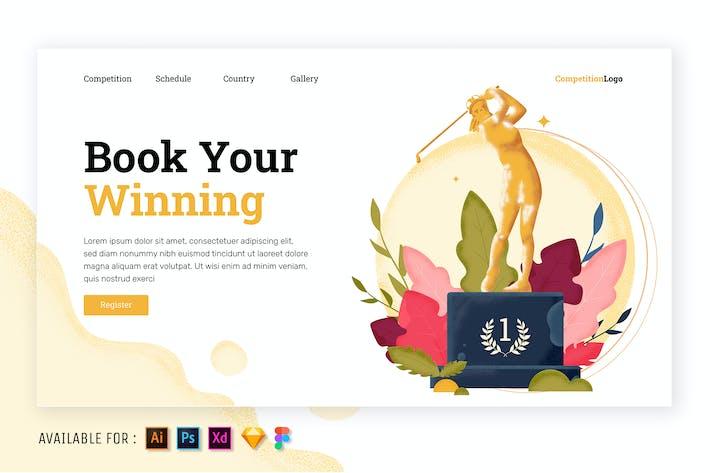 Golf Championship Trophy  - Web Illustration