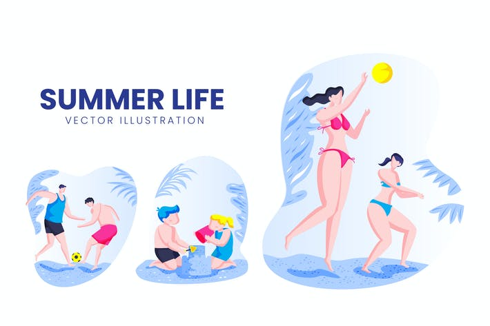 Thumbnail for Summer Life Activity Vector Character Set