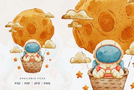 Design de personnage d'illustration d'astronaute mignon