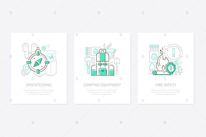 Tourisme et camping - bannières de style design ligne
