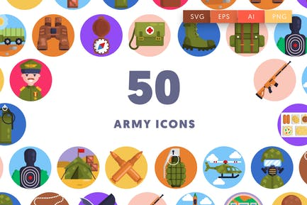 50 Armee-Icons