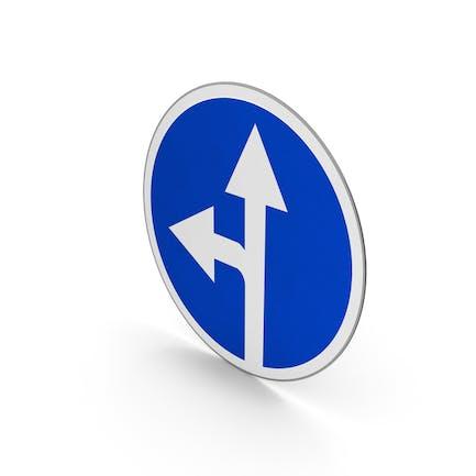 Verkehrsschild weiter geradeaus oder links abbiegen