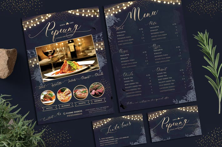 Thumbnail for String Lights Menu + Business Card