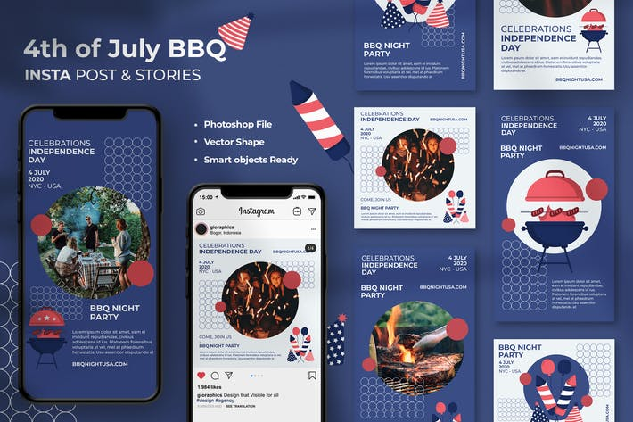 Thumbnail for 4 Juillet BBQ Instagram Stories & Post Modèle
