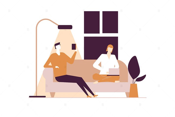 Thumbnail for Paar zu Hause - flache Design-Stil Illustration