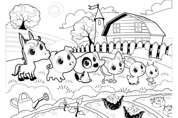 Tiere auf dem Bauernhof im Garten