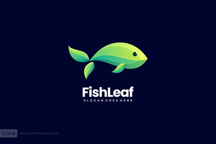 Thumbnail for Fish Leaf Logo Template
