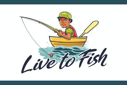 Live to Fish - Angeln Maskottchen Logo
