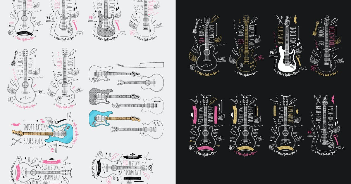 Trendy Retro Vintage Insignias with Guitar. Vector by fet