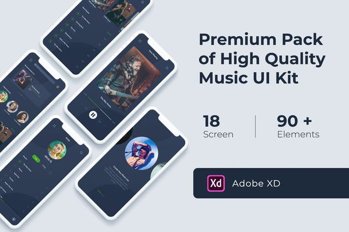 Thumbnail for Music Audio Play App UI KIT for XD