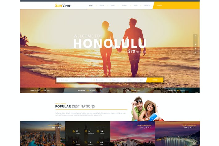 Cover Image For SunTour Creative Travel Agency HTML Template