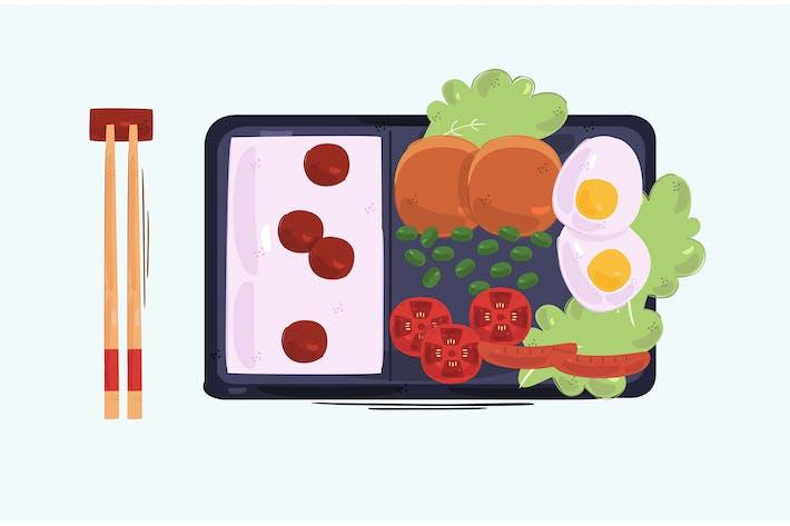 Bento Box Background Illustration