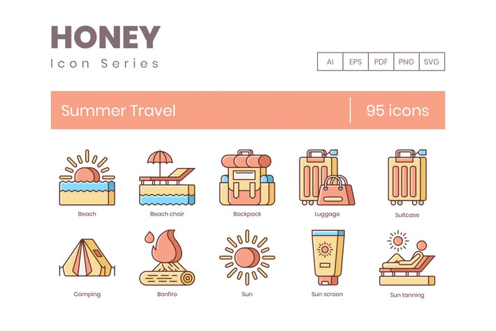 Thumbnail for 95 Sommer-Reise-Linien-Icons